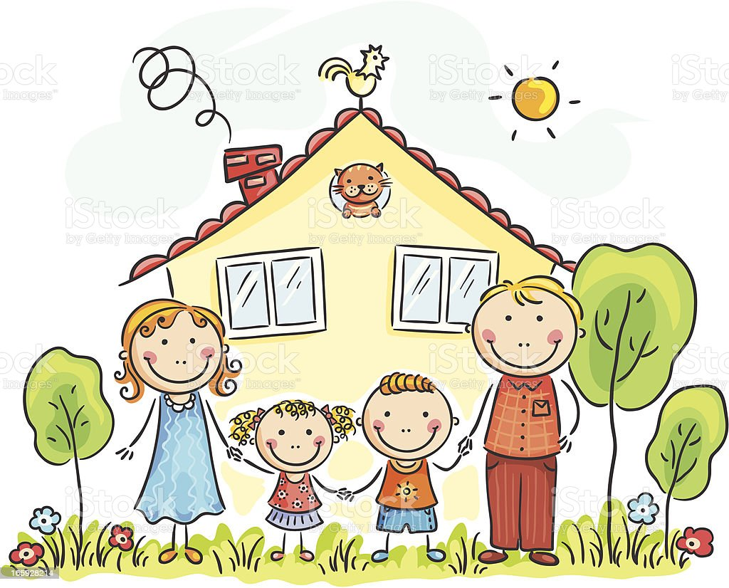 Family house vector art illustration
