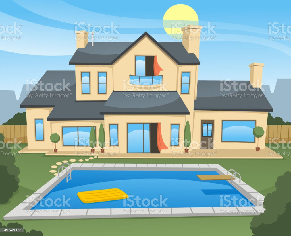 Family House with pool vector art illustration