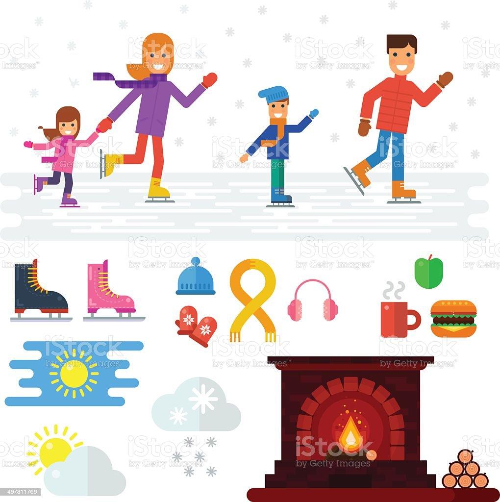 Family ice skating vector art illustration