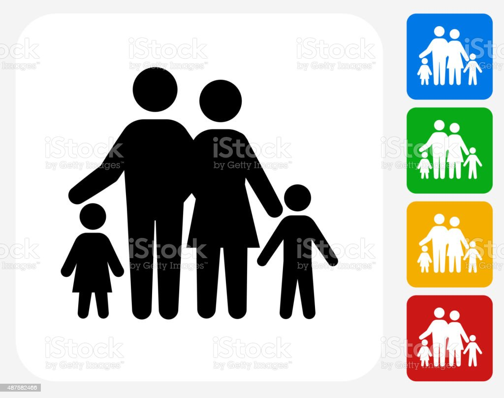 Family Icon Flat Graphic Design vector art illustration