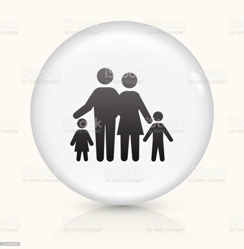 Family icon on white round vector button vector art illustration