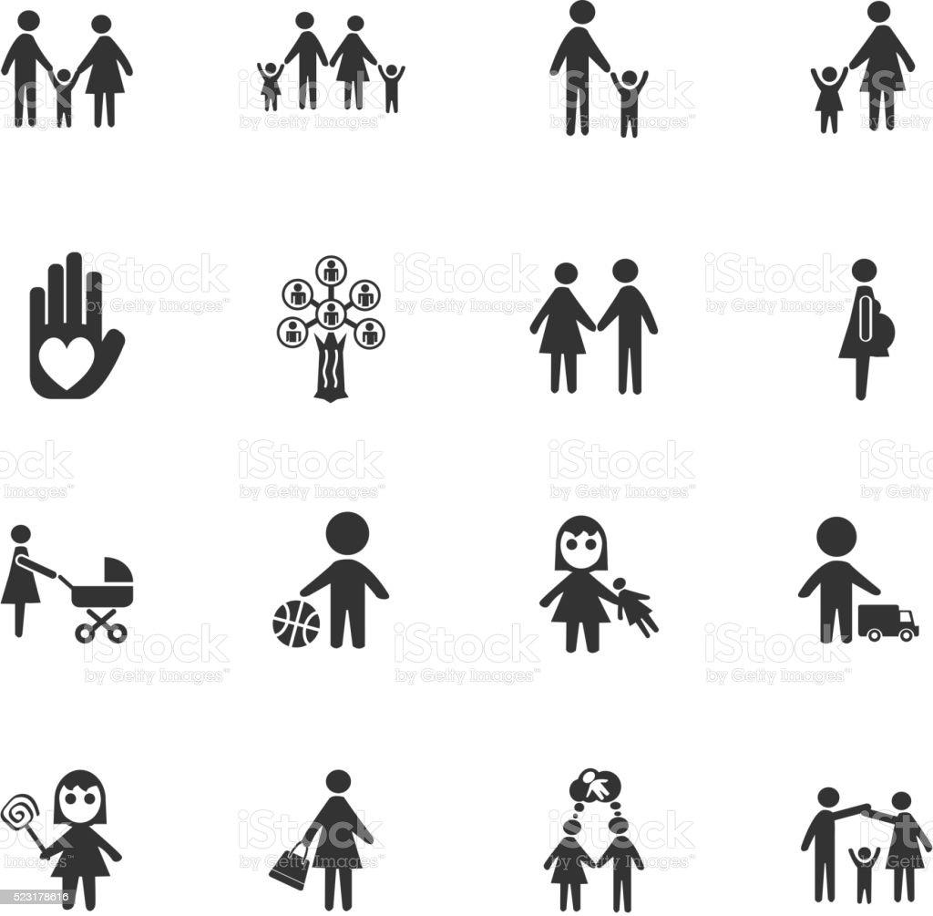 family icon set vector art illustration