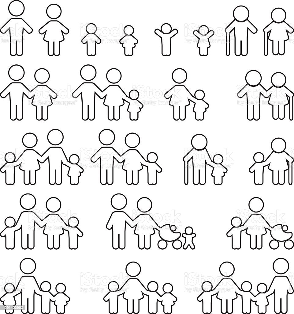 Family icon set. vector art illustration