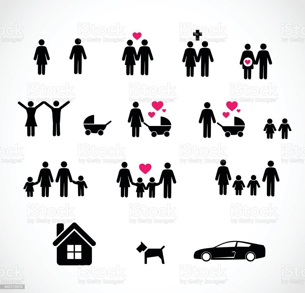 Family icon set vector illustration vector art illustration