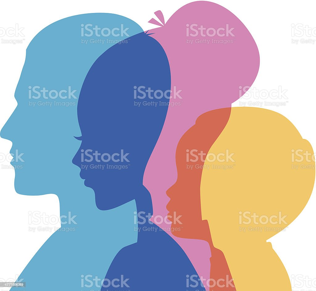 Family icons head vector art illustration