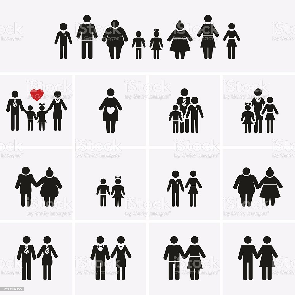 Family Icons. Man, Woman, Kid, Elder. People Character. vector art illustration