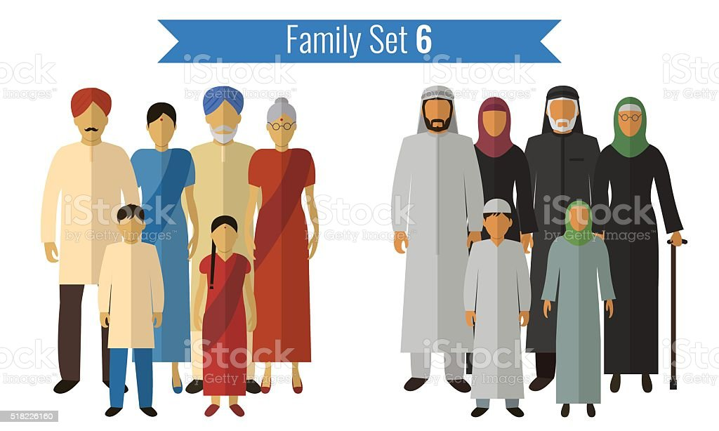 Family icons set. Traditional culture, national family. Vector vector art illustration