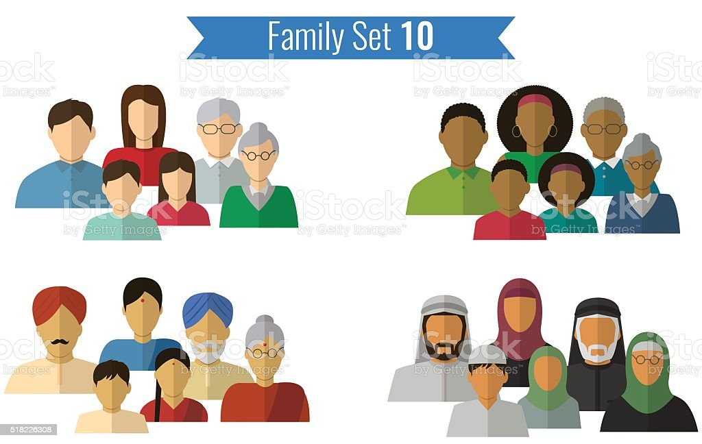 Family icons set. Traditional culture, national family. Vector royalty-free stock vector art