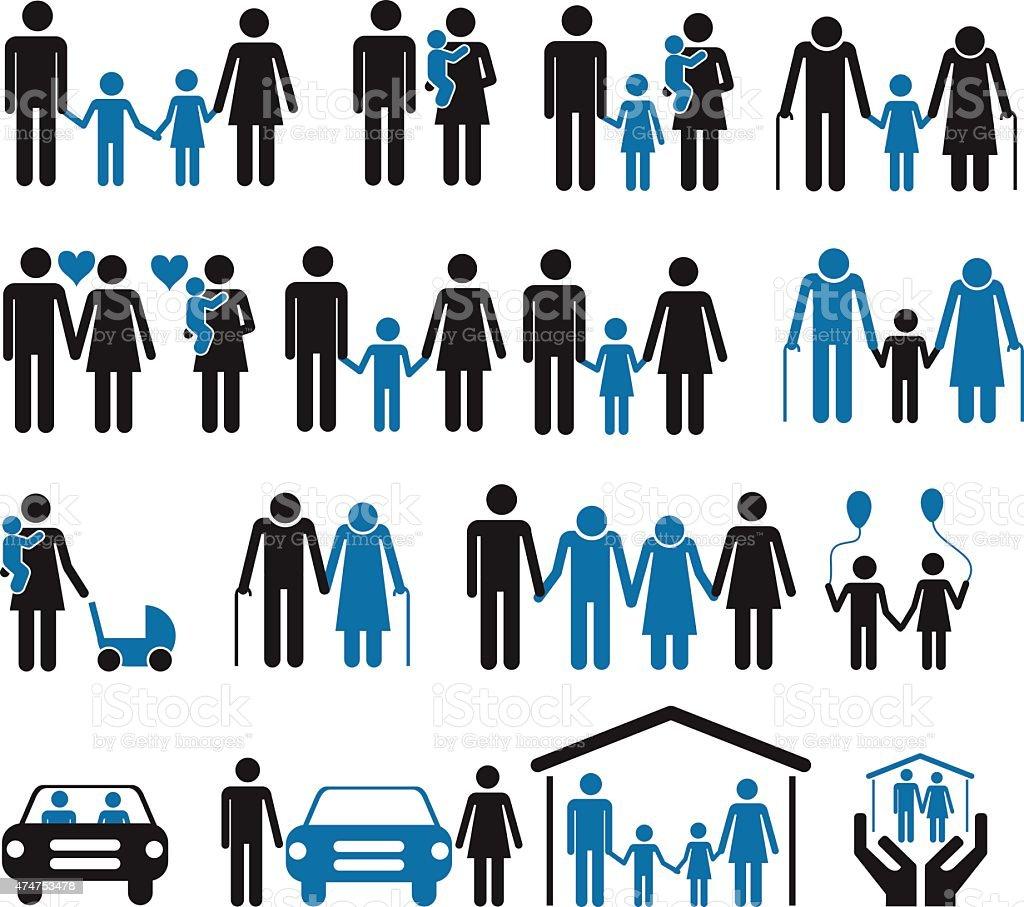 Family icons set vector art illustration
