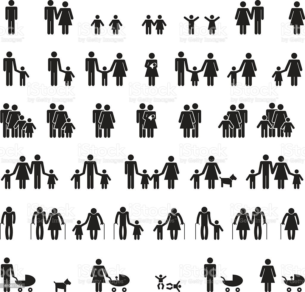 Family icons set vector art illustration
