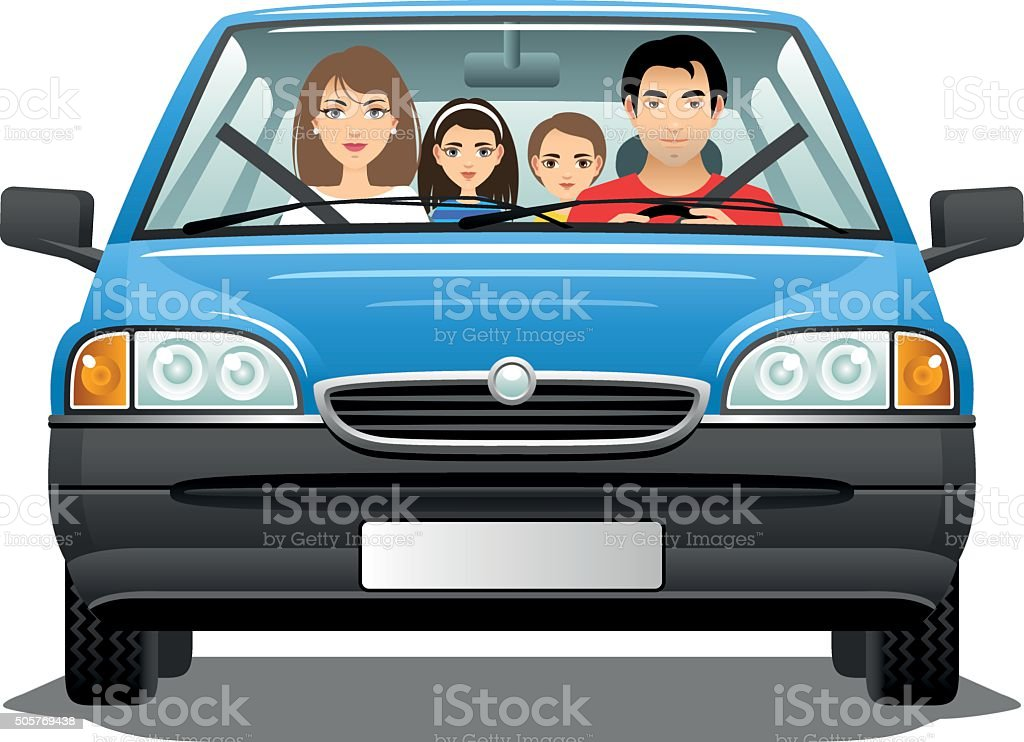 Family in a car vector art illustration