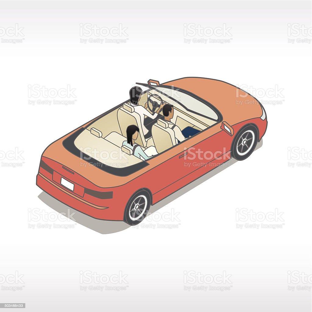 Family In Car Illustration royalty-free stock vector art