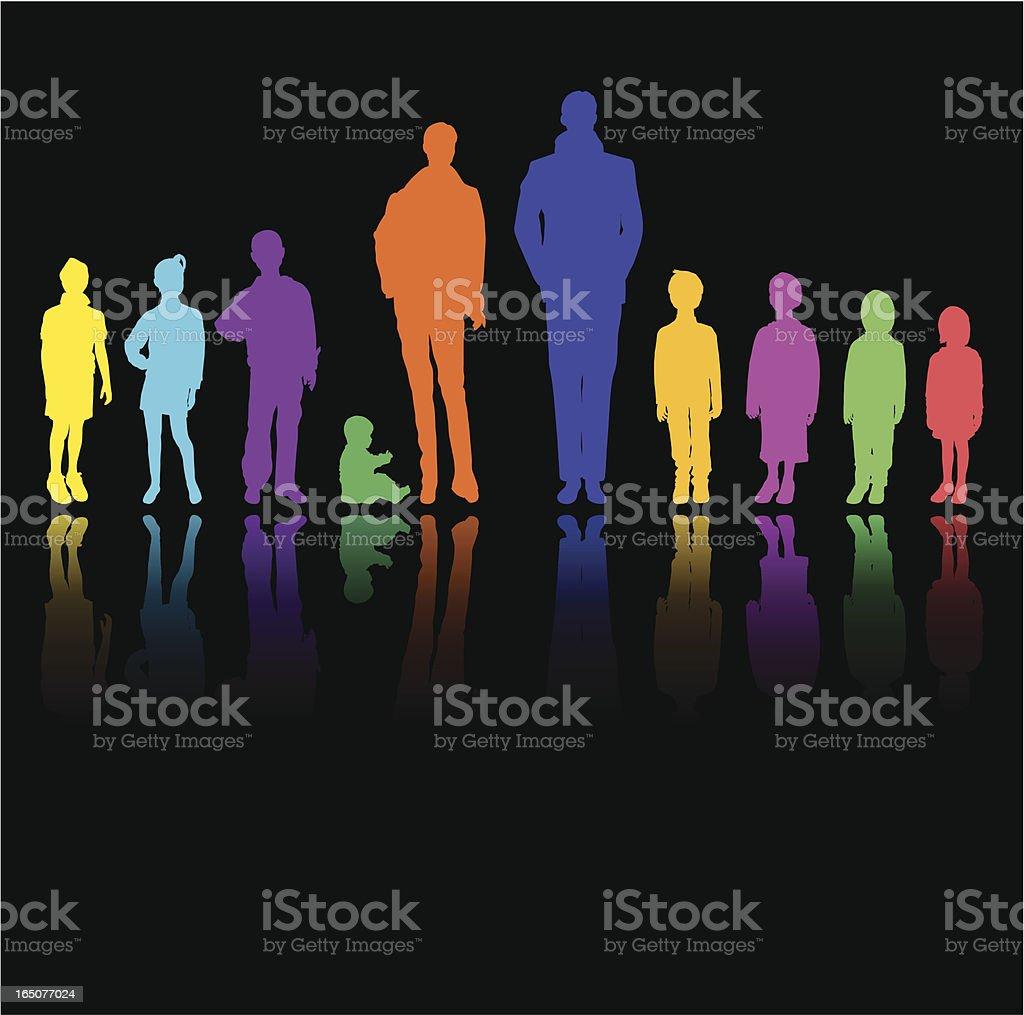 Family in Colours vector art illustration