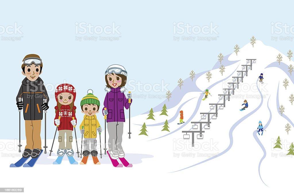 Family in ski slope vector art illustration
