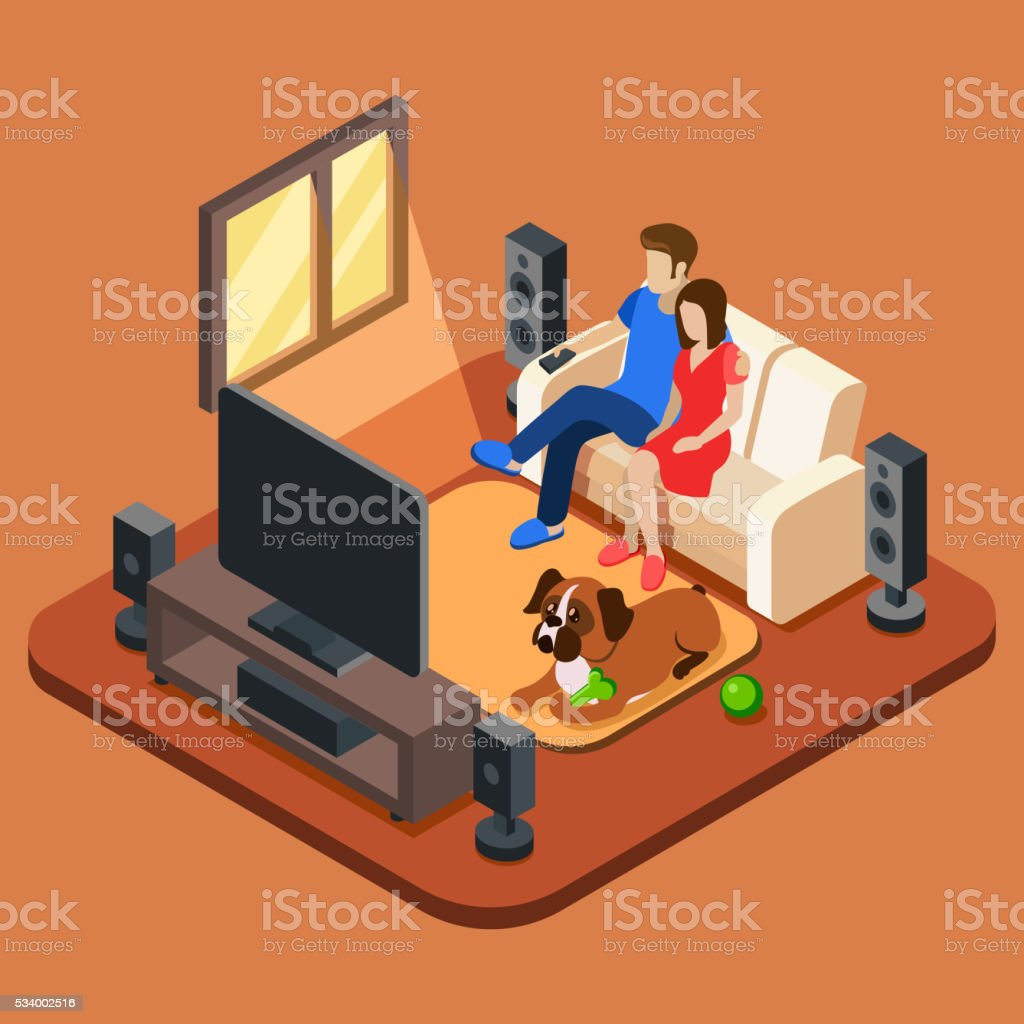 Family in the living room watching TV vector art illustration