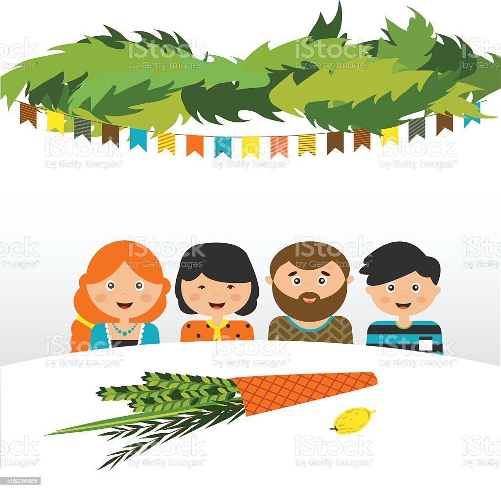 family in the sukkah . sukkot Jewish holiday vector art illustration