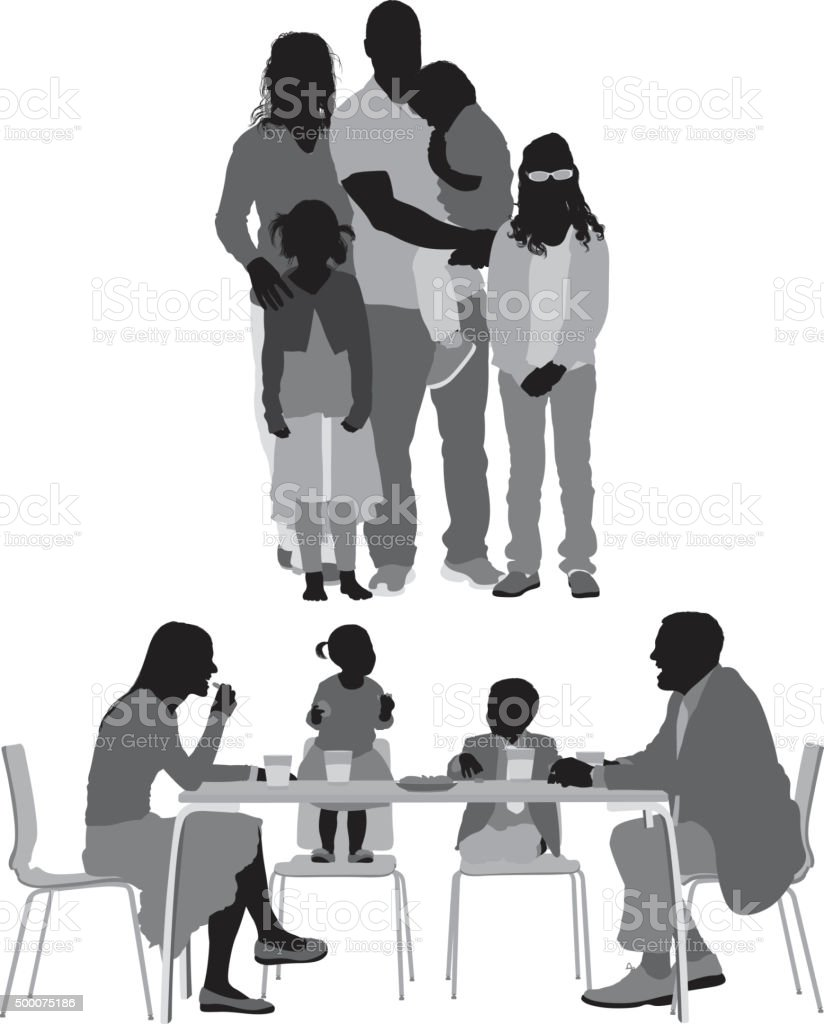 Family in various action vector art illustration