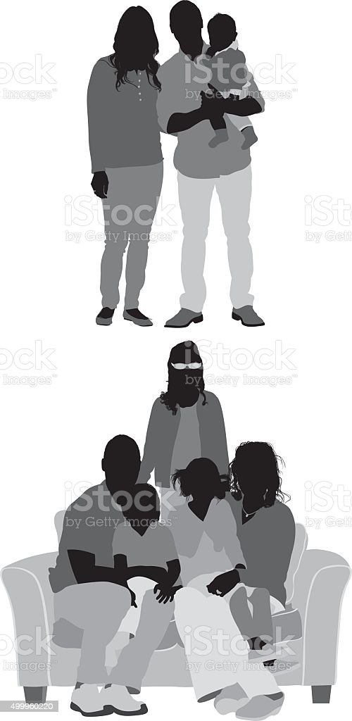 Family in various poses vector art illustration