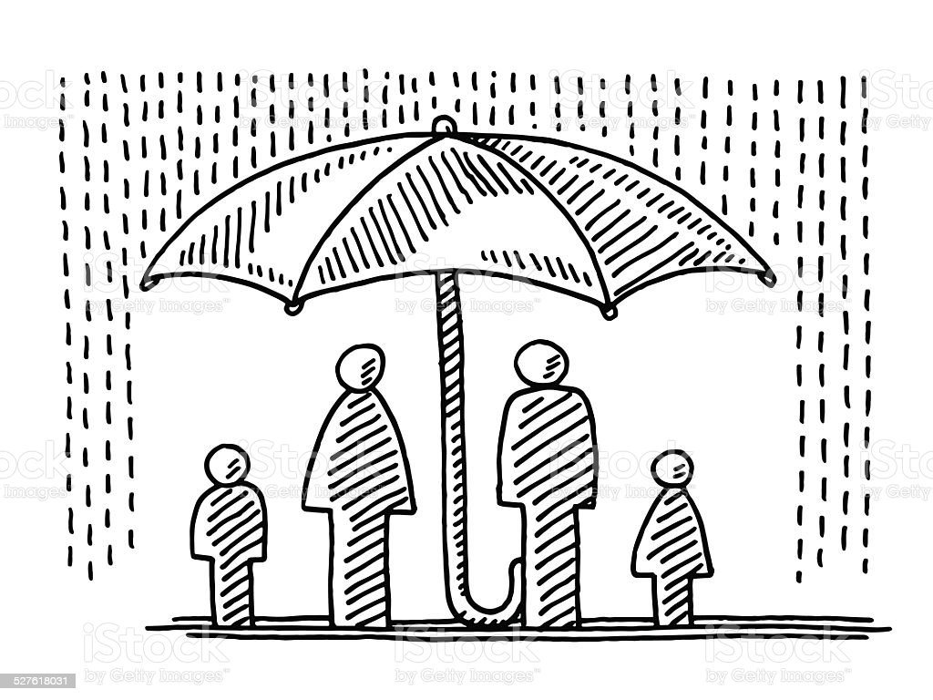 Family Insurance Concept Umbrella Drawing vector art illustration
