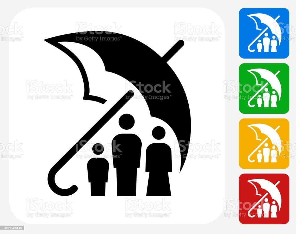 Family Insurance Icon Flat Graphic Design vector art illustration