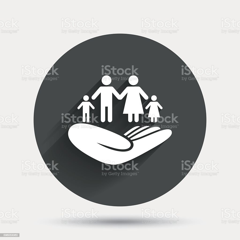 Family insurance sign. Hand holds human group. vector art illustration