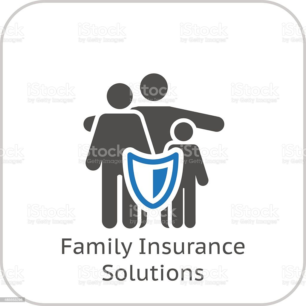 Family Insurance Solutions and Medical Services Icon. Flat Design. vector art illustration