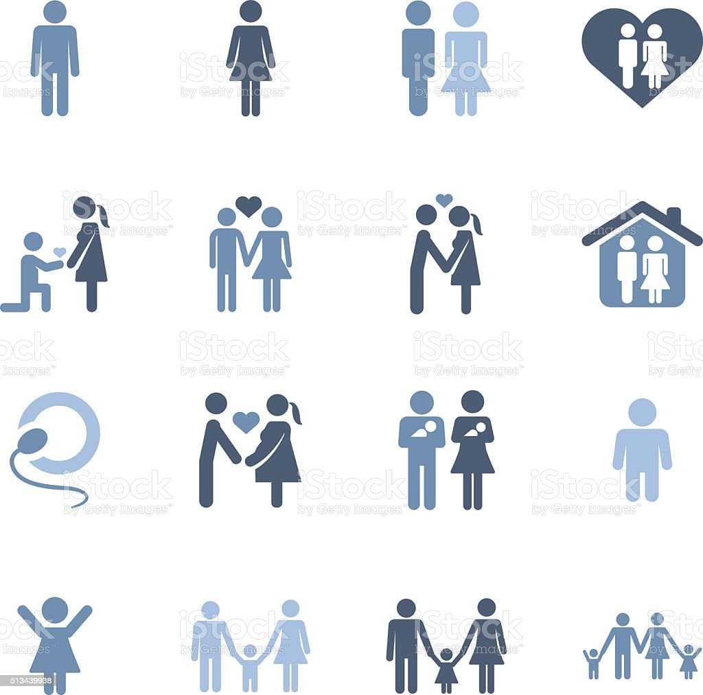 family life icons vector art illustration