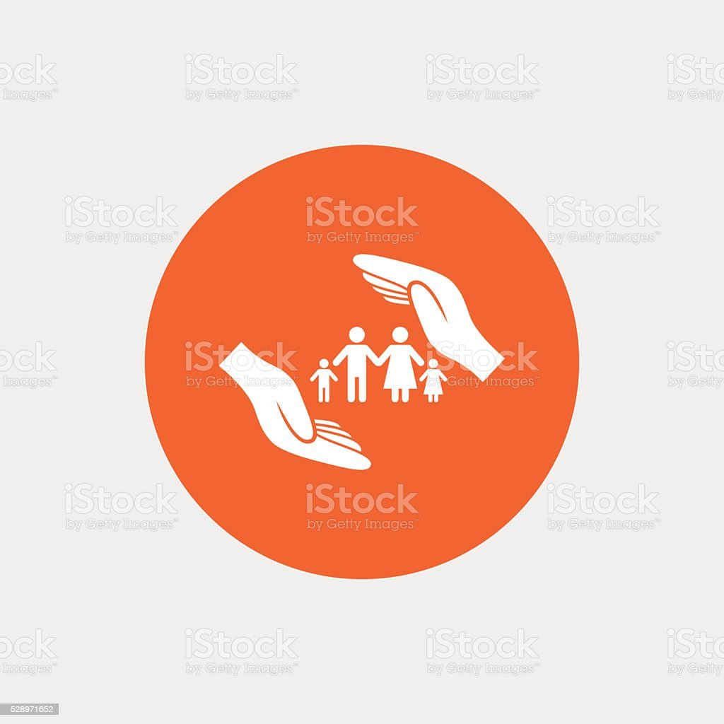 Family life insurance sign icon. Hands protect. vector art illustration