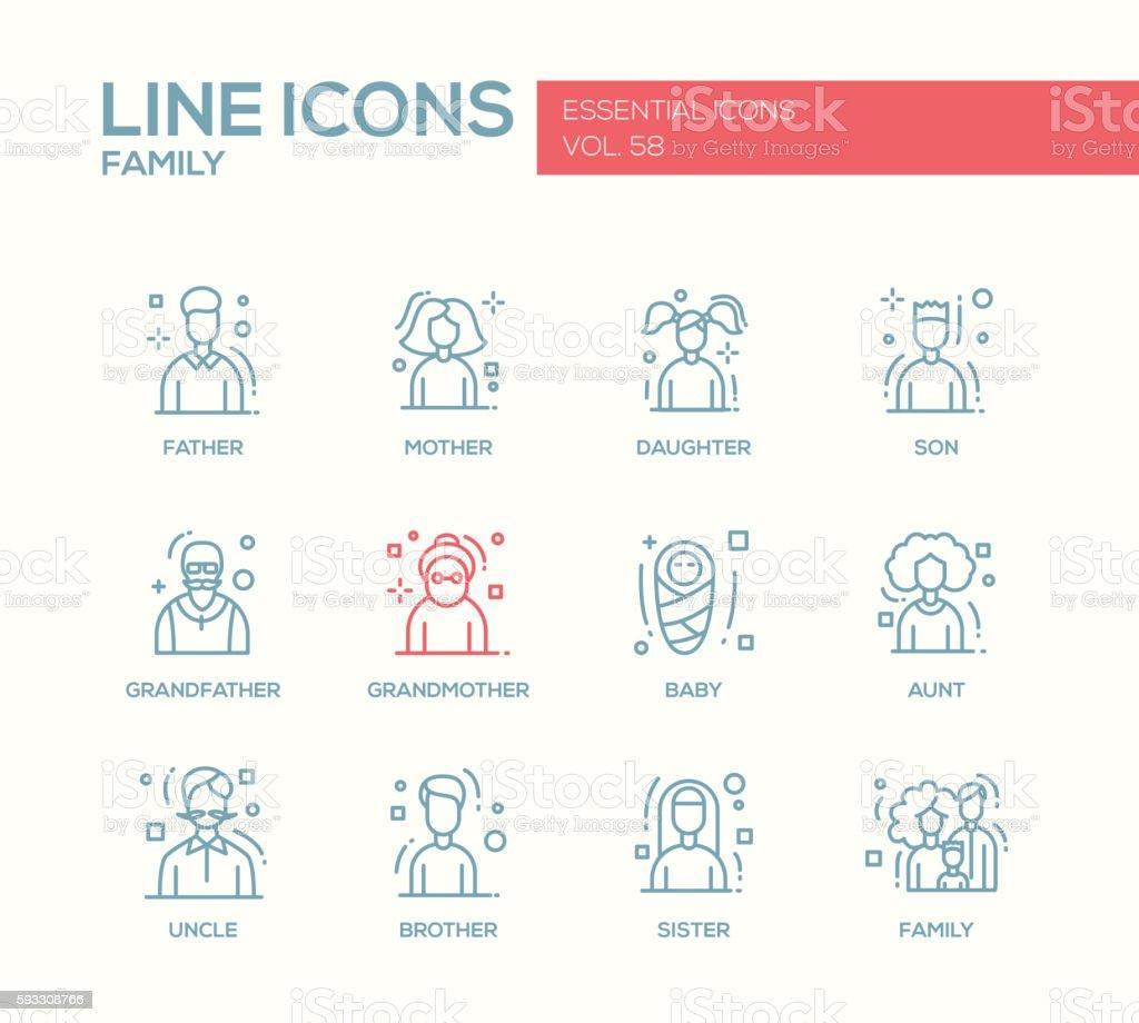 Family - line design icons set vector art illustration