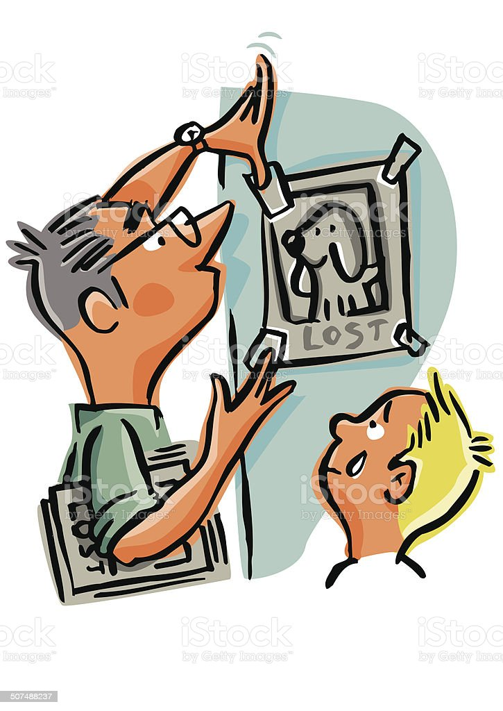Family looking for their lost pet, hanging signs of lost royalty-free stock vector art