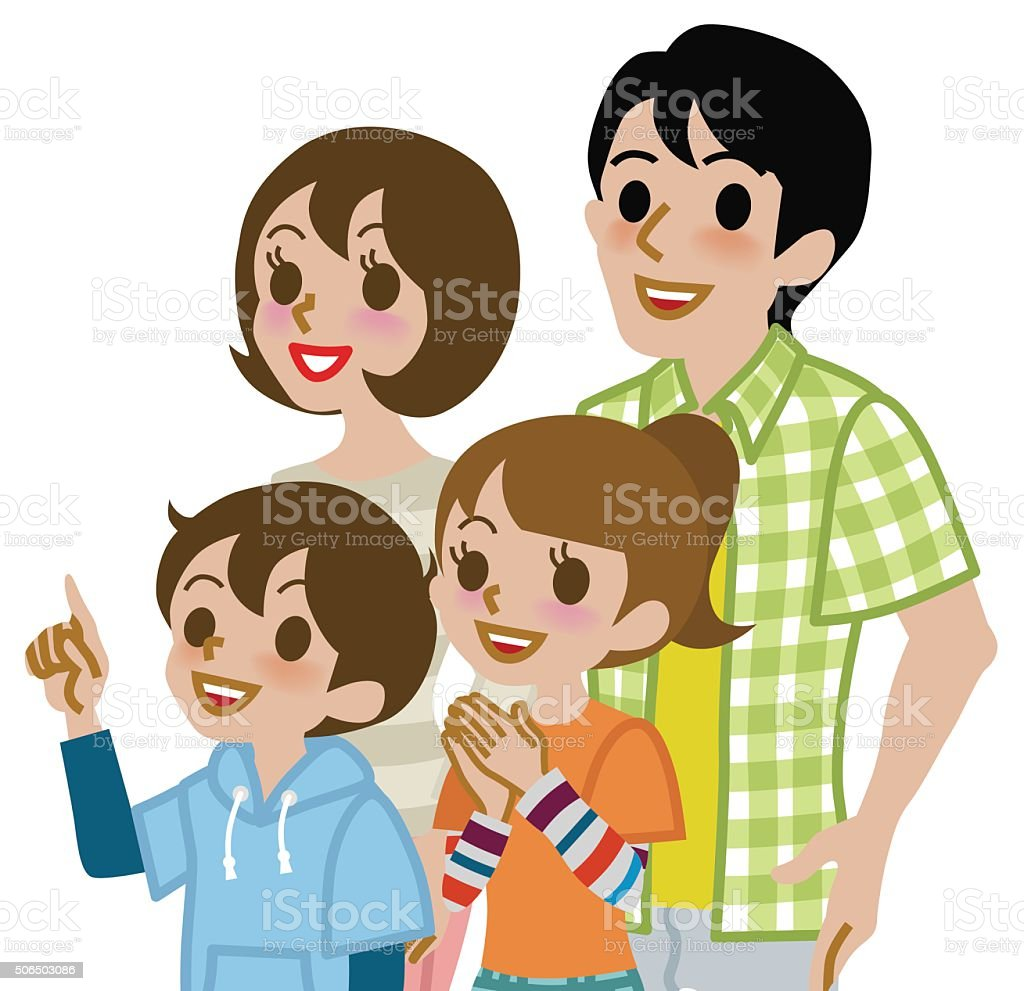 Family Looking up - Waist Up, Isolated vector art illustration