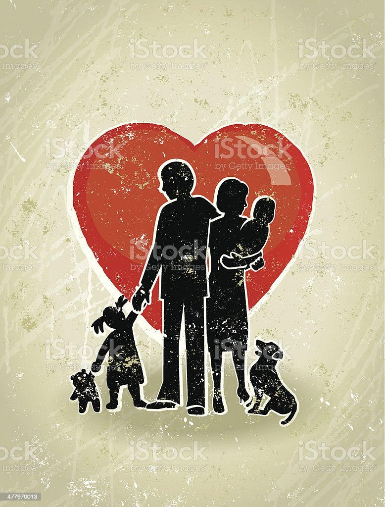 Family Love, Parents, Children Standing in Front a Giant Heart. royalty-free stock vector art