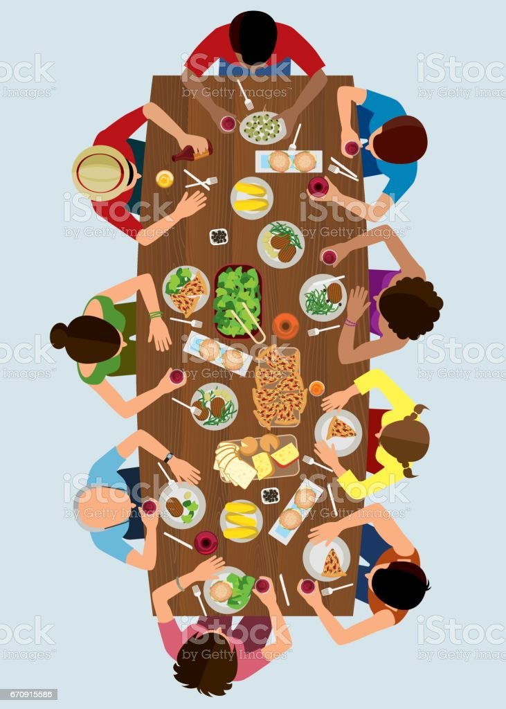 Family Lunch Top View vector art illustration