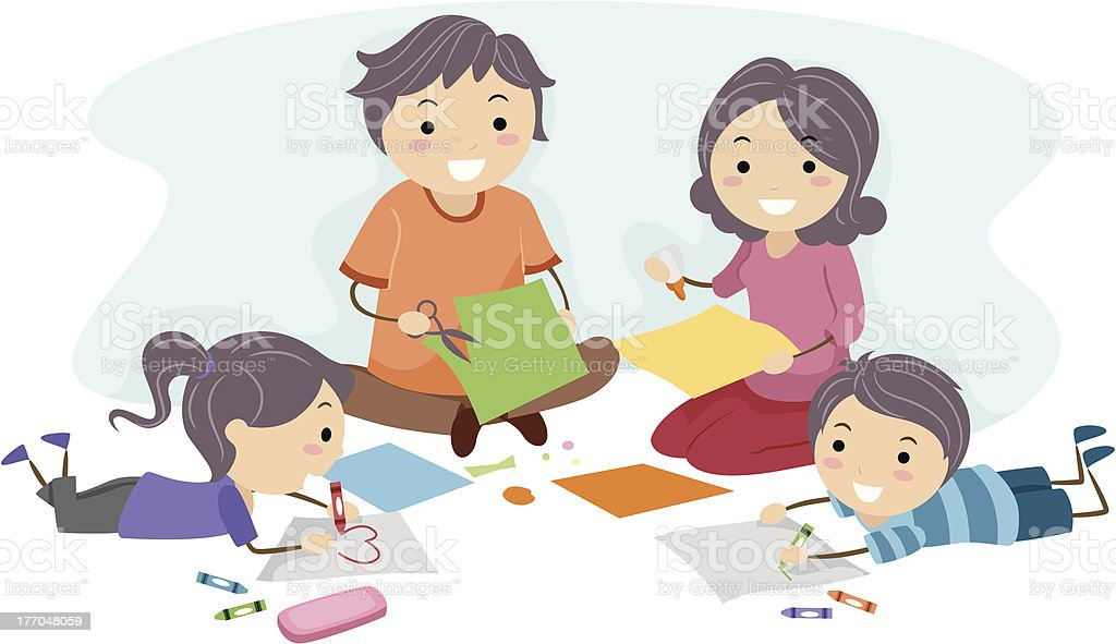 Family Making Crafts vector art illustration