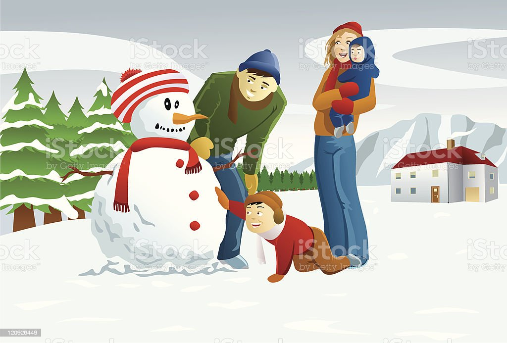 Family Making Snowman royalty-free stock vector art