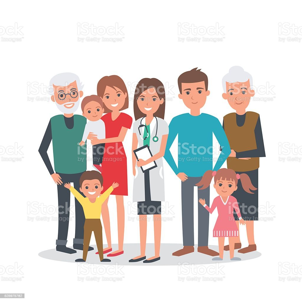 Family medicine vector art illustration