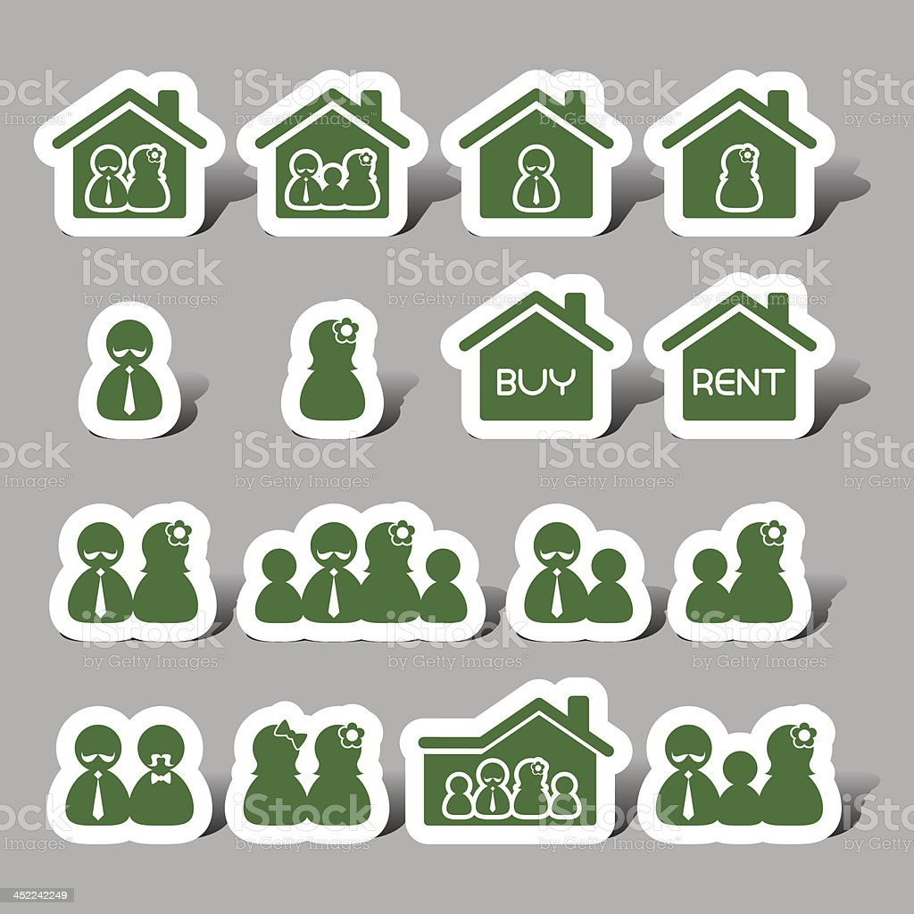 Family member interface icons royalty-free stock vector art