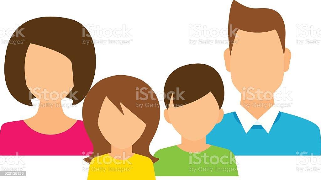 Family members avatars in flat style vector art illustration
