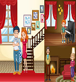 Family members in different rooms of the house