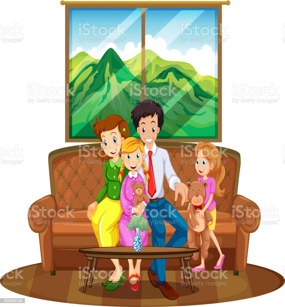 Family Members Sitting In Living Room Royalty Free Stock Vector Art