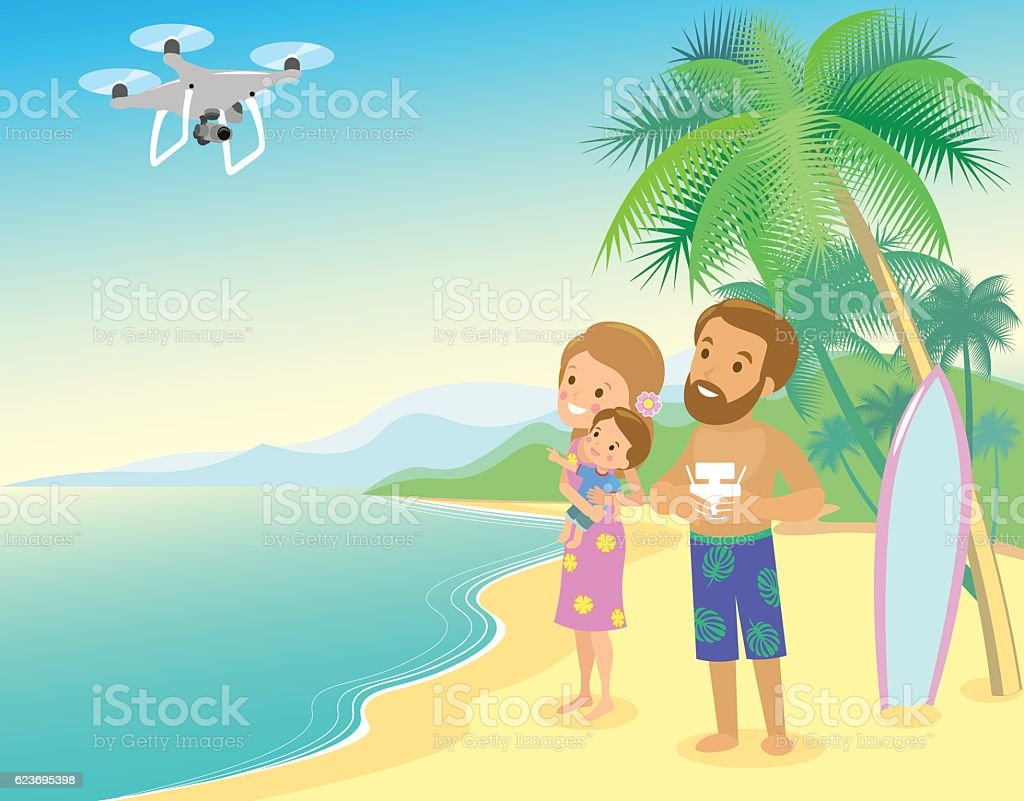 Family mother father and child son seashore with drone quadrocopter vector art illustration