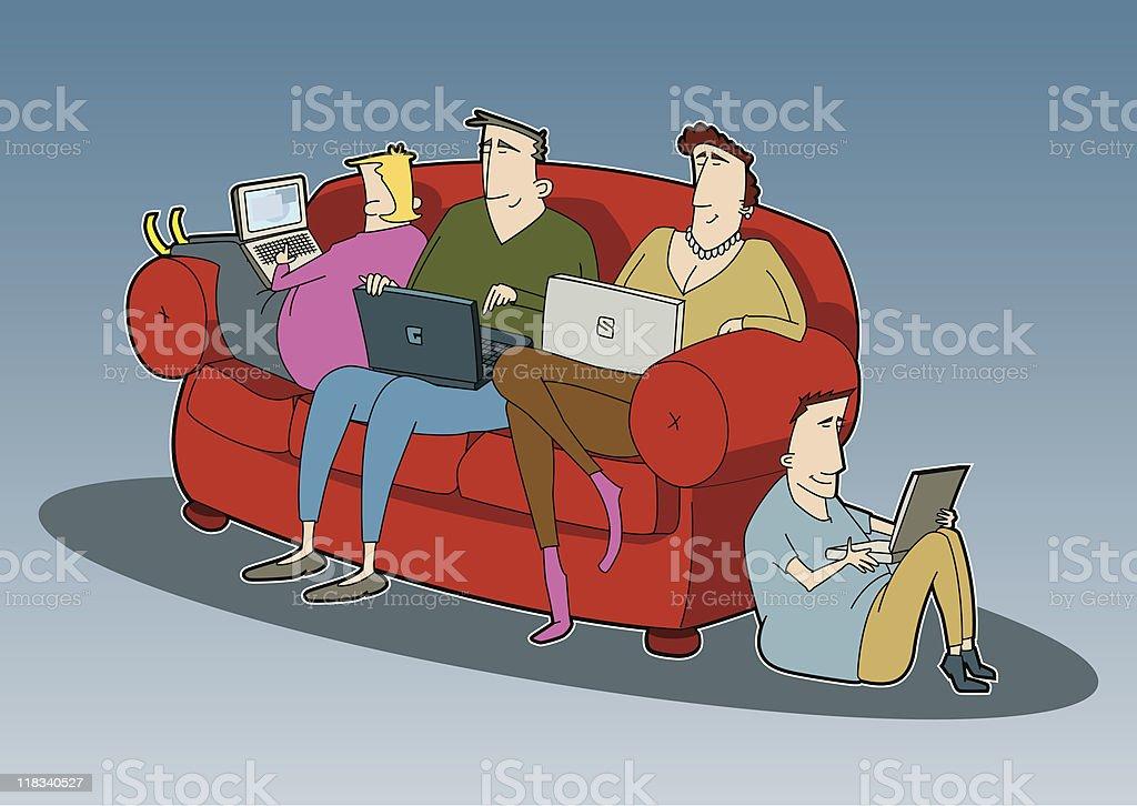 Family Night In vector art illustration