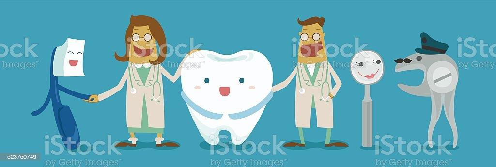 family of dental vector art illustration