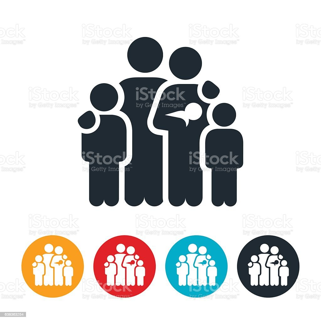 Family of Five Icon vector art illustration