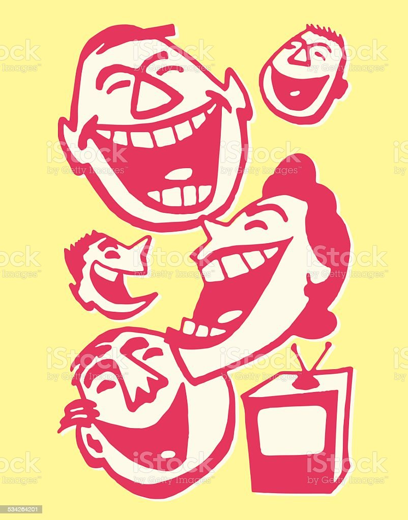 Family of Four Laughing at Television vector art illustration
