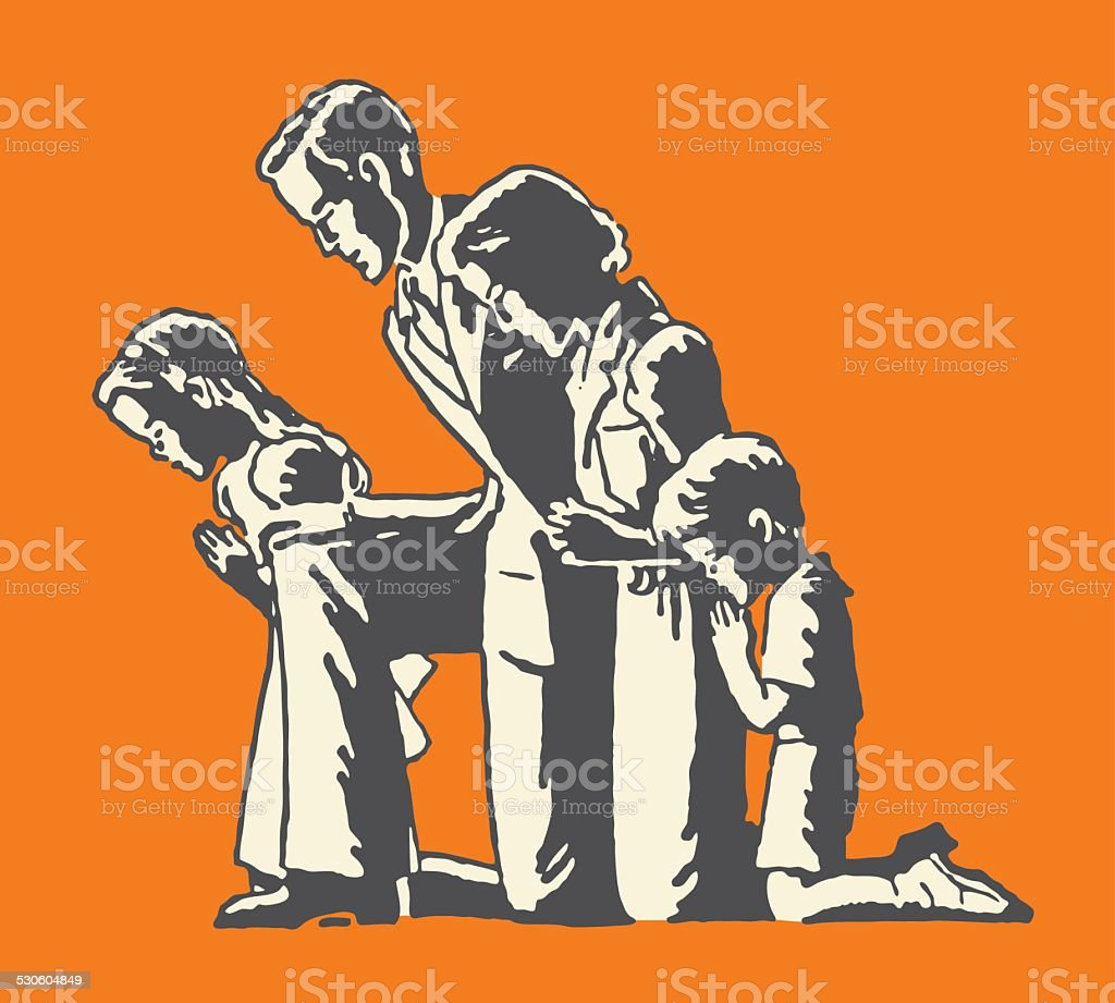 Family of Four Praying vector art illustration