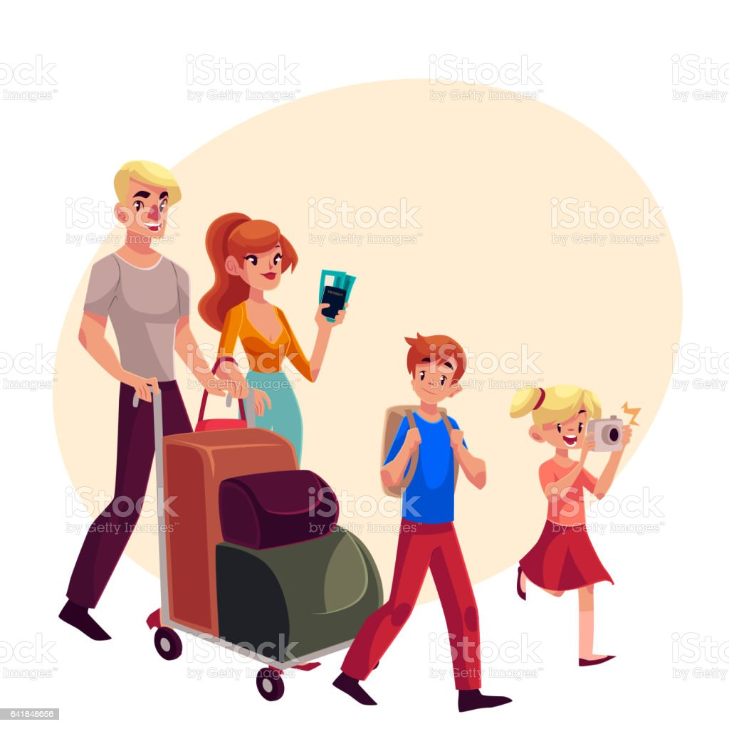 Family of four pushing luggage cart at airport, travelling together vector art illustration
