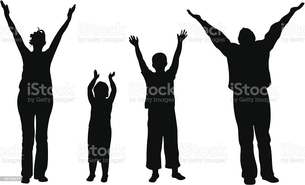 family of four with hands up vector royalty-free stock vector art