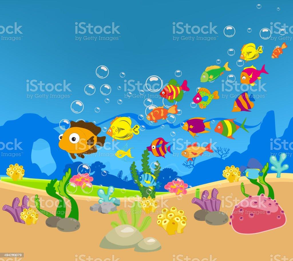 family of funny fish under the sea stock vector art 494280079 istock