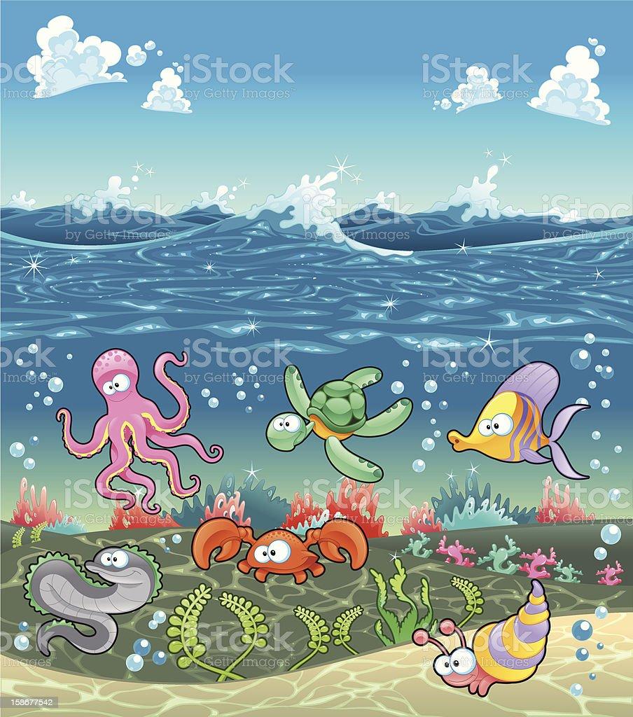 Family of marine animals under the sea. vector art illustration